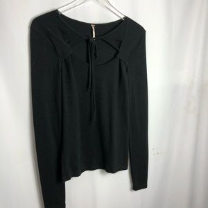 Free People Black Open Chest Top size Medium 0662